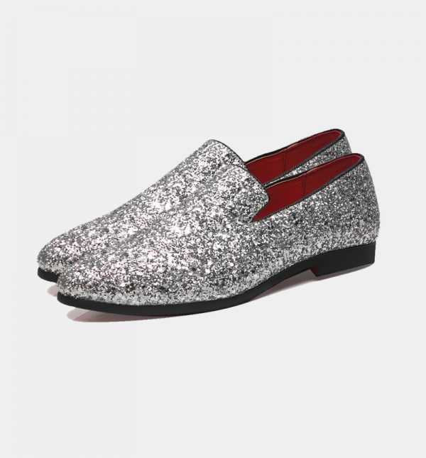 Mens Silver Glitter Loafers