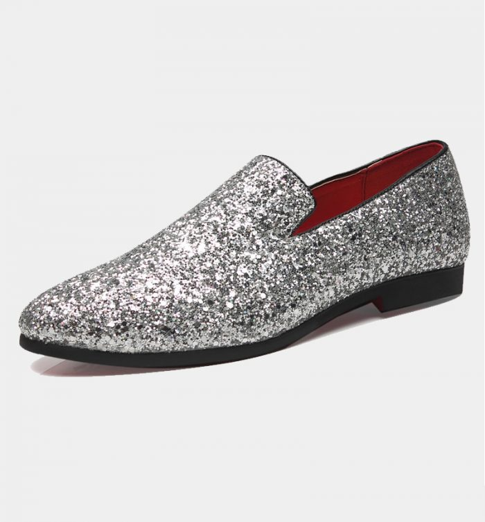 Mens Silver Glitter Shoes