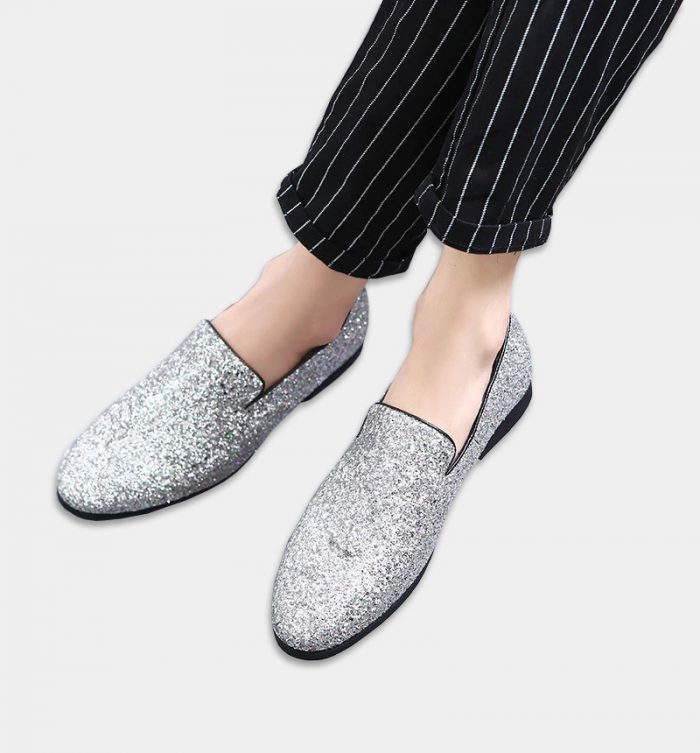 Mens Silver Glitters Loafers Shoes