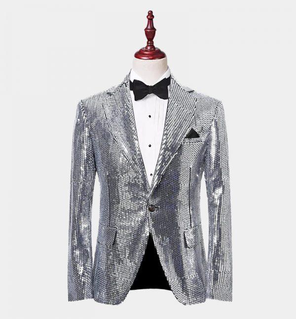 Mens Silver Sequin Blazer Jacket