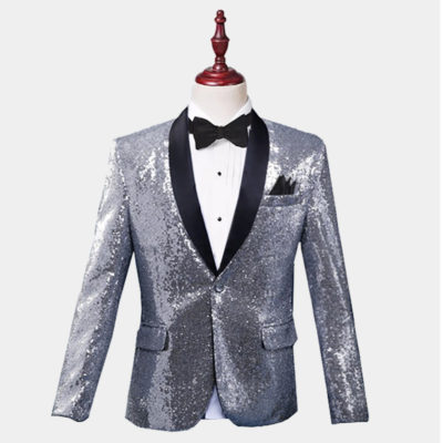 Mens Silver Sequin Tiuxedo Jacket from Gentlemansguru.com