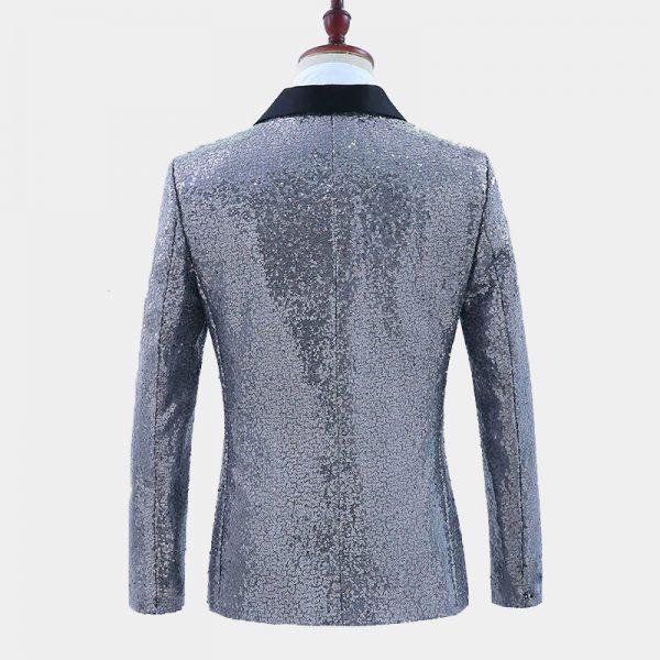 Mens Silver Sequin Tuxedo Blazer Jacket from Gentlemansguru.com