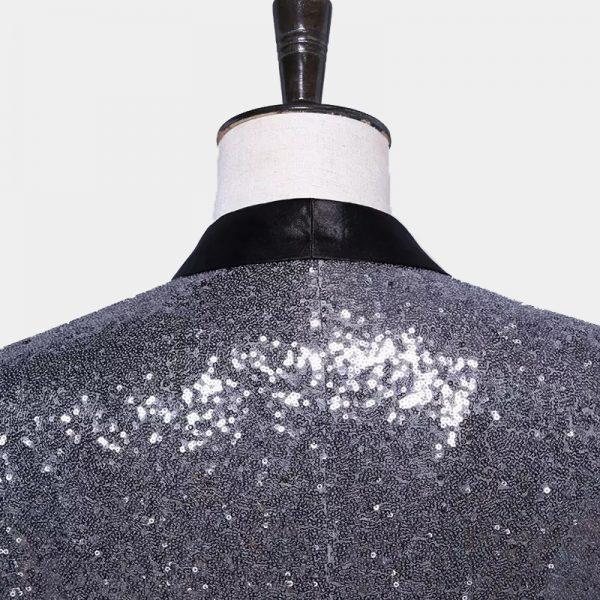 Mens Silver Sequin Tuxedo Blazer from Gentlemansguru.com