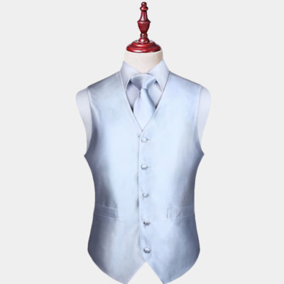 Mens Silver Vest And Tie Set