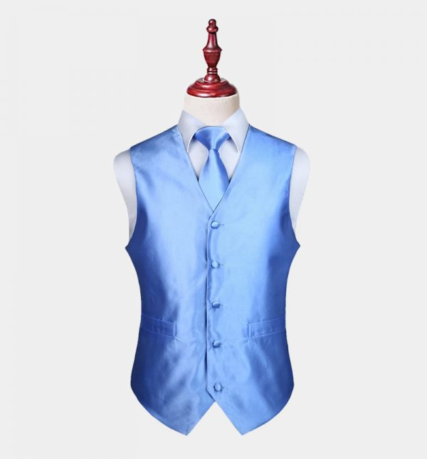Mens Sky Blue Vest And Tie Set