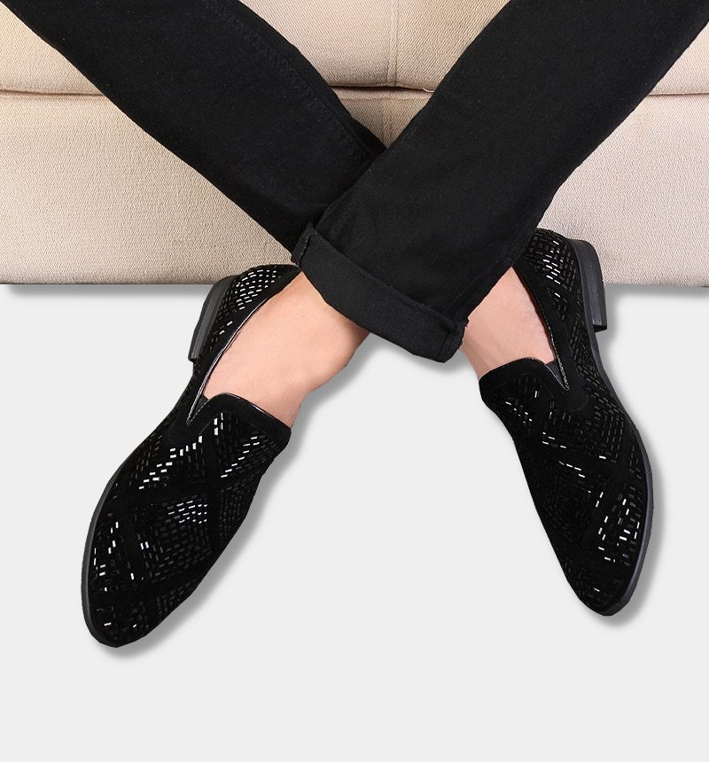 Mens Sparkle Loafers In Black