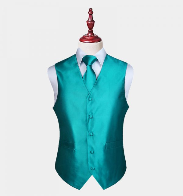 Mens Turquoise Vest And Tie Set