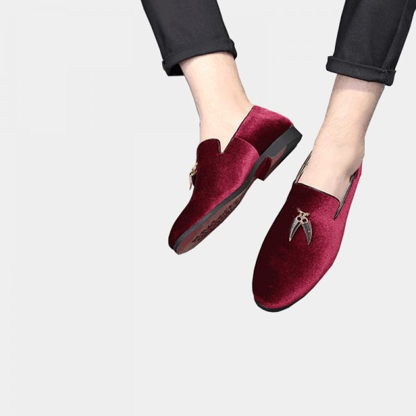 Mens Suede Burgundy Loafers With Tassels