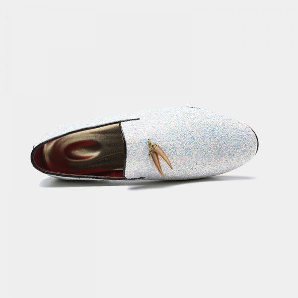 Mens White Glitter Dress Shoes