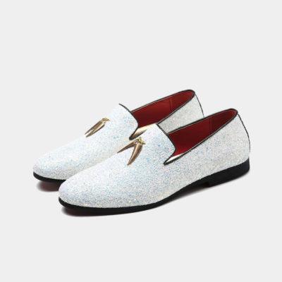 Mens White Glitter Loafers