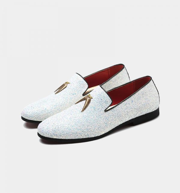 Mens White Glitter Loafers