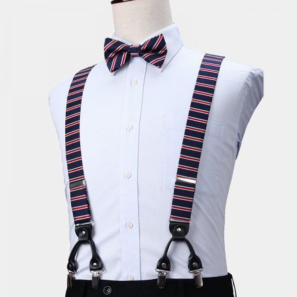 Navy Blue-Red Striped Suspenders And Bow Tie Set from Gentlemansguru.com
