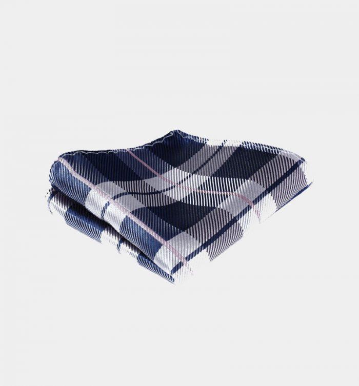 Navy Blue And White Plaid Pocket Square Pocket Square from Gentlemansguru.com