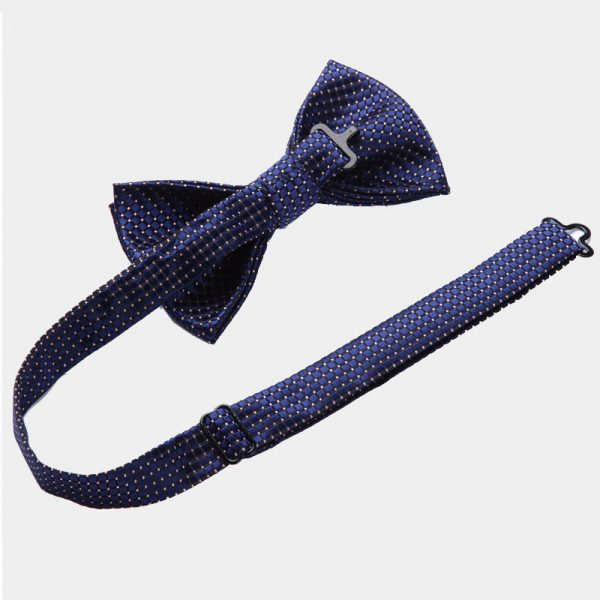 Navy Blue Dotted Bow Tie Set
