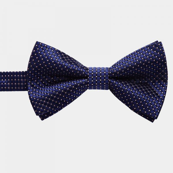 Navy Blue Dotted Pre-Tie Bow Tie