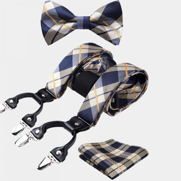 Navy Blue-Gold Plaid Bow Tie And Suspenders Set from Gentlemansguru.com