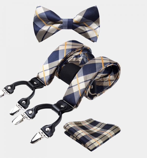 Navy Blue-Gold Plaid Bow Tie And Suspenders Set from Gentlemansguru.com