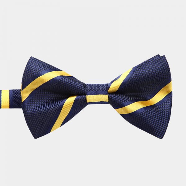 Navy Blue Striped Bow Tie And Suspenders Set from Gentlemansguru.com