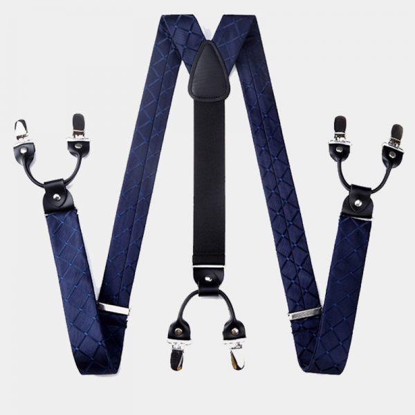 Navy Blue Plaid Suspenders Set