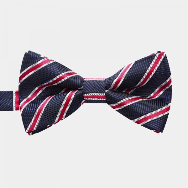 Navy Blue-Red Floral Pre-Tie Bow Tie from Gentlemansguru.com