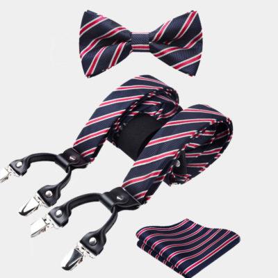 Navy Blue-Red Striped Bow Tie And Suspenders Set from Gentlemansguru.com