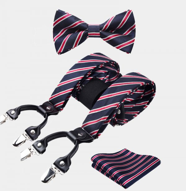 Navy Blue-Red Striped Bow Tie And Suspenders Set from Gentlemansguru.com