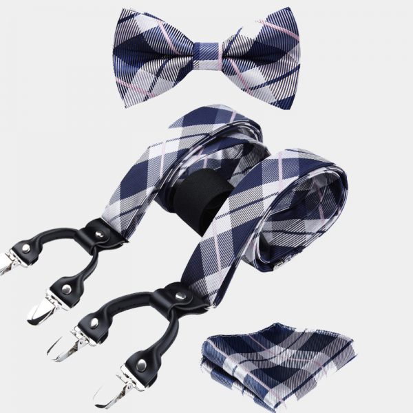 Navy Blue and White Plaid Bow Tie And Suspenders Set from Gentlemansguru.com