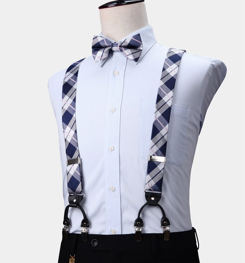Navy Blue and White Plaid Bow Tie and Suspenders from Gentlemansguru.com