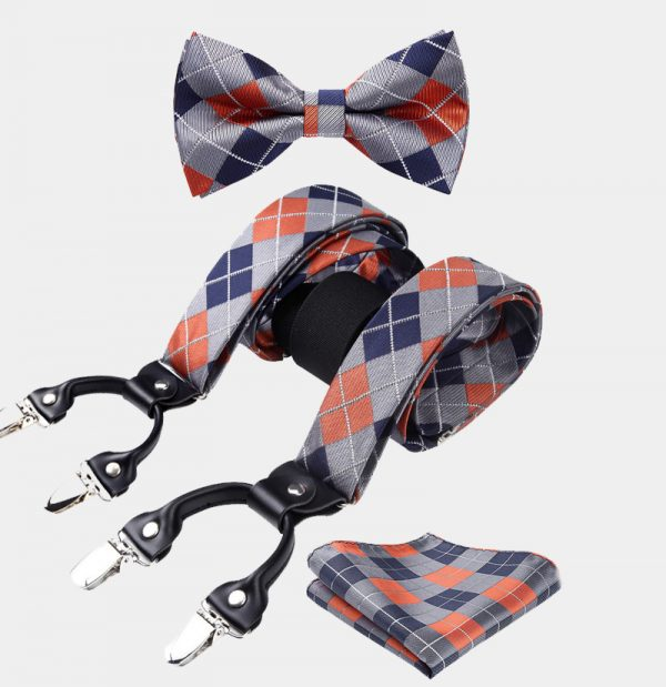 Orange and Gray Plaid Bow Tie And Suspenders Set from Gentlemansguru.com
