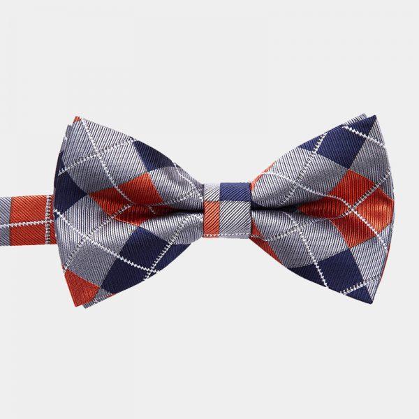 Orange and Gray Plaid Bow Tie And Suspenders Set from Gentlemansguru.com