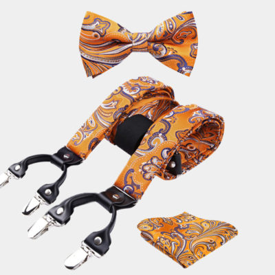 Orange Paisley Bow Tie And Suspenders Set from Gentlemansguru.com