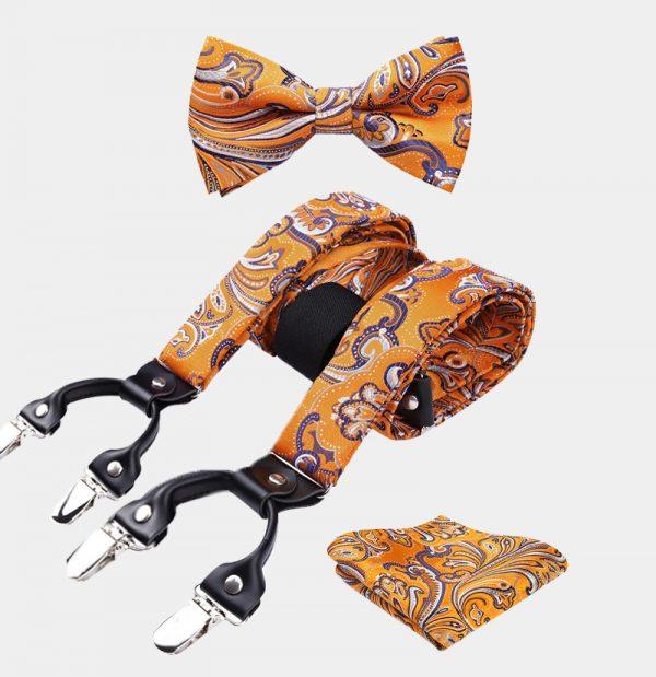 Orange Paisley Bow Tie And Suspenders Set from Gentlemansguru.com