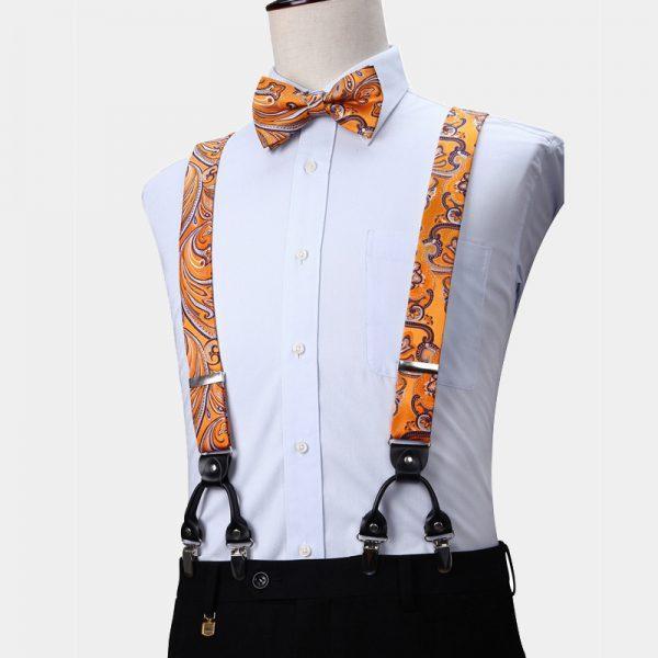 Orange Paisley Suspenders And Bow Tie Set from Gentlemansguru.com