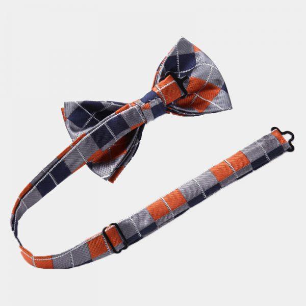 Orange-Plaid Plaid Bow Tie Set from Gentlemansguru.com