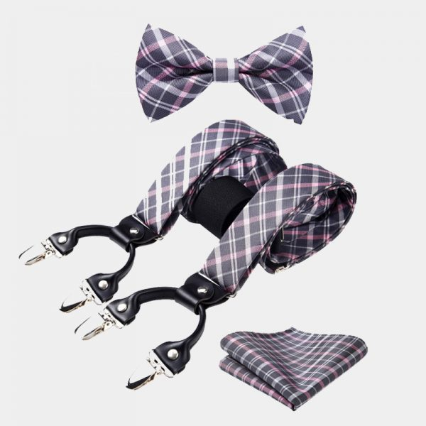 Pink and Gray Plaid Bow Tie & Suspenders Set from Gentlemansguru.com