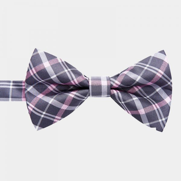 Pink Gray Plaid Pre-Tie Bow Tie from Gentlemansguru.com