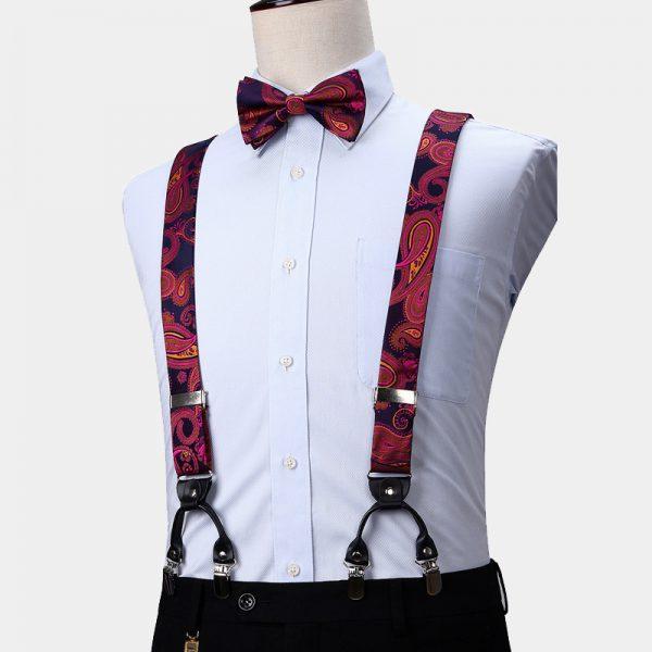 Pink and Purple Paisley Bow Tie And Suspenders Set from Gentlemansguru.com