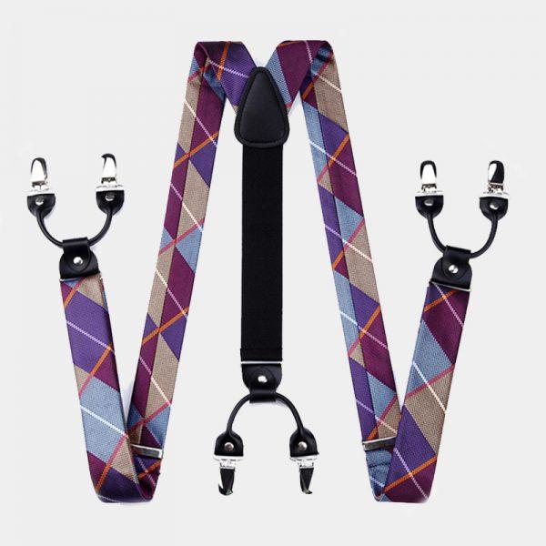 Purple Blue Plaid Suspenders Set