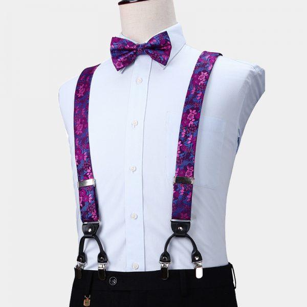 Purple Floral Suspenders And Bow Tie Set from Gentlemansguru.com