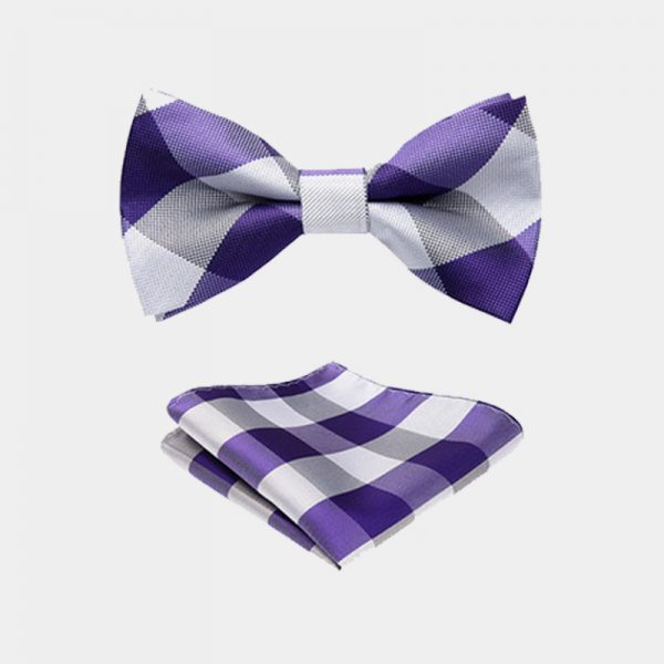 Purple And White Plaid Bow Tie And Suspenders Set from Gentlemansguru.com