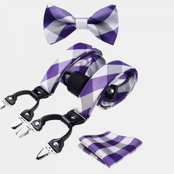 Purple And White Plaid Bow Tie And Suspenders Set from Gentlemansguru.com