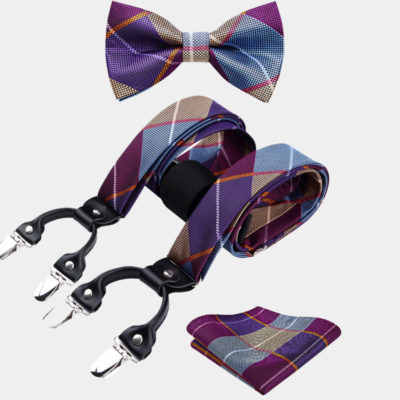 Purple Plaid Bow Tie And Suspenders Set