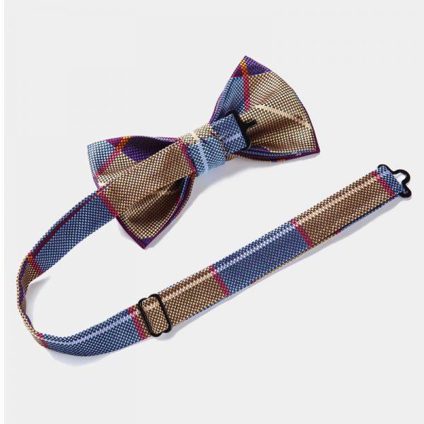 Purple Plaid Pre Tied Bow Tie Set