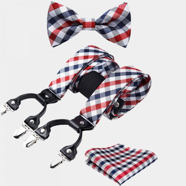 Red Checkered Bow Tie And Suspenders Set from Gentlemansguru.com
