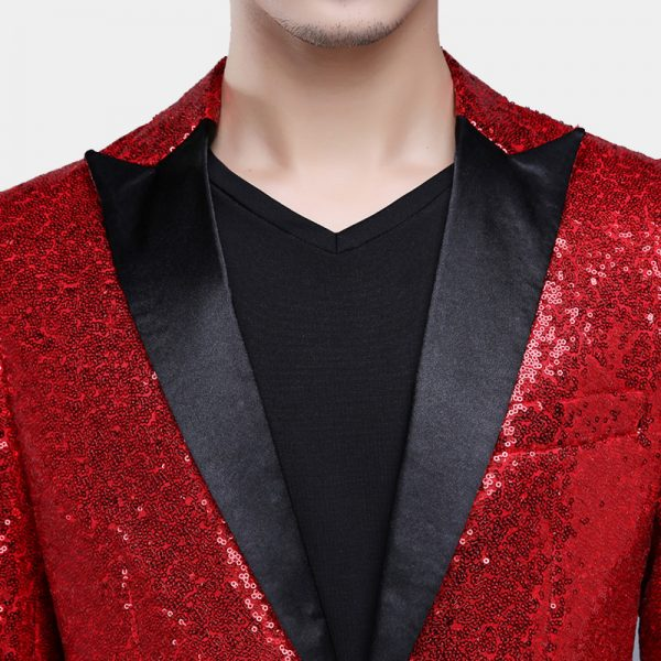 Red Sequin Tuxedo Jacket With Black Peak Lapel from Gentlemansguru.com