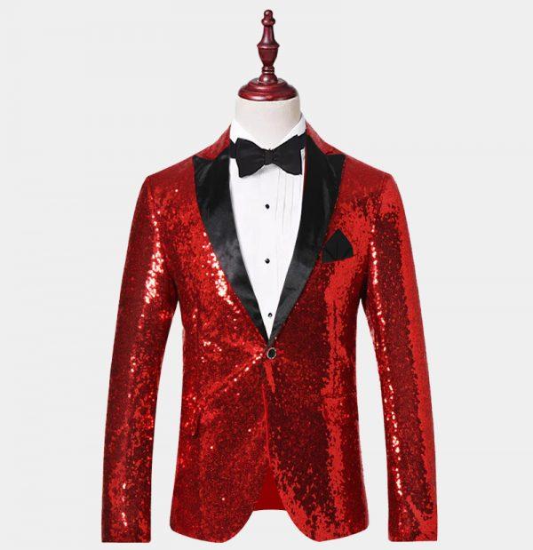Red Sequin Tuxedo Jacket from Gentlemansguru.com