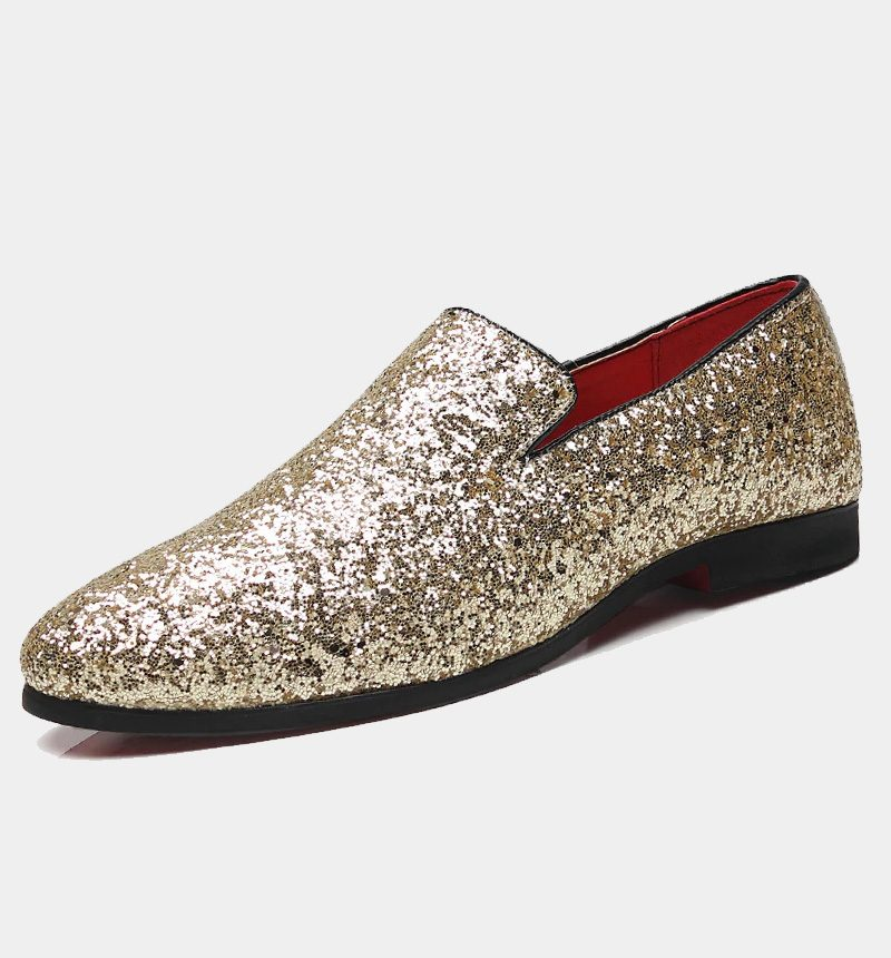 Rose Gold Glitter Loafers