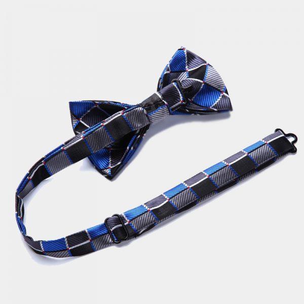Royal Blue - Black Plaid Bow Tie Set from Gentlemansguru.com