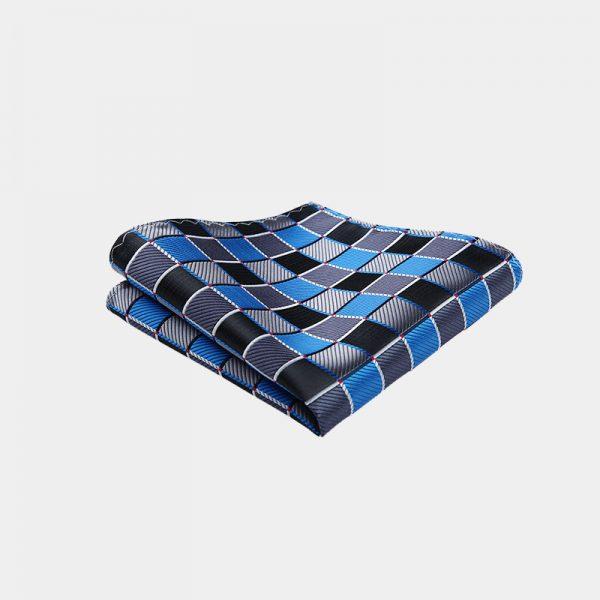 Royal Blue - Black Plaid Pocket Square from Gentlemansguru.com