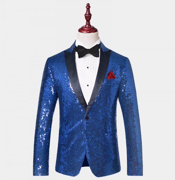 Royal Blue Sequin Tuxedo Jacket from Gentlemansguru.com